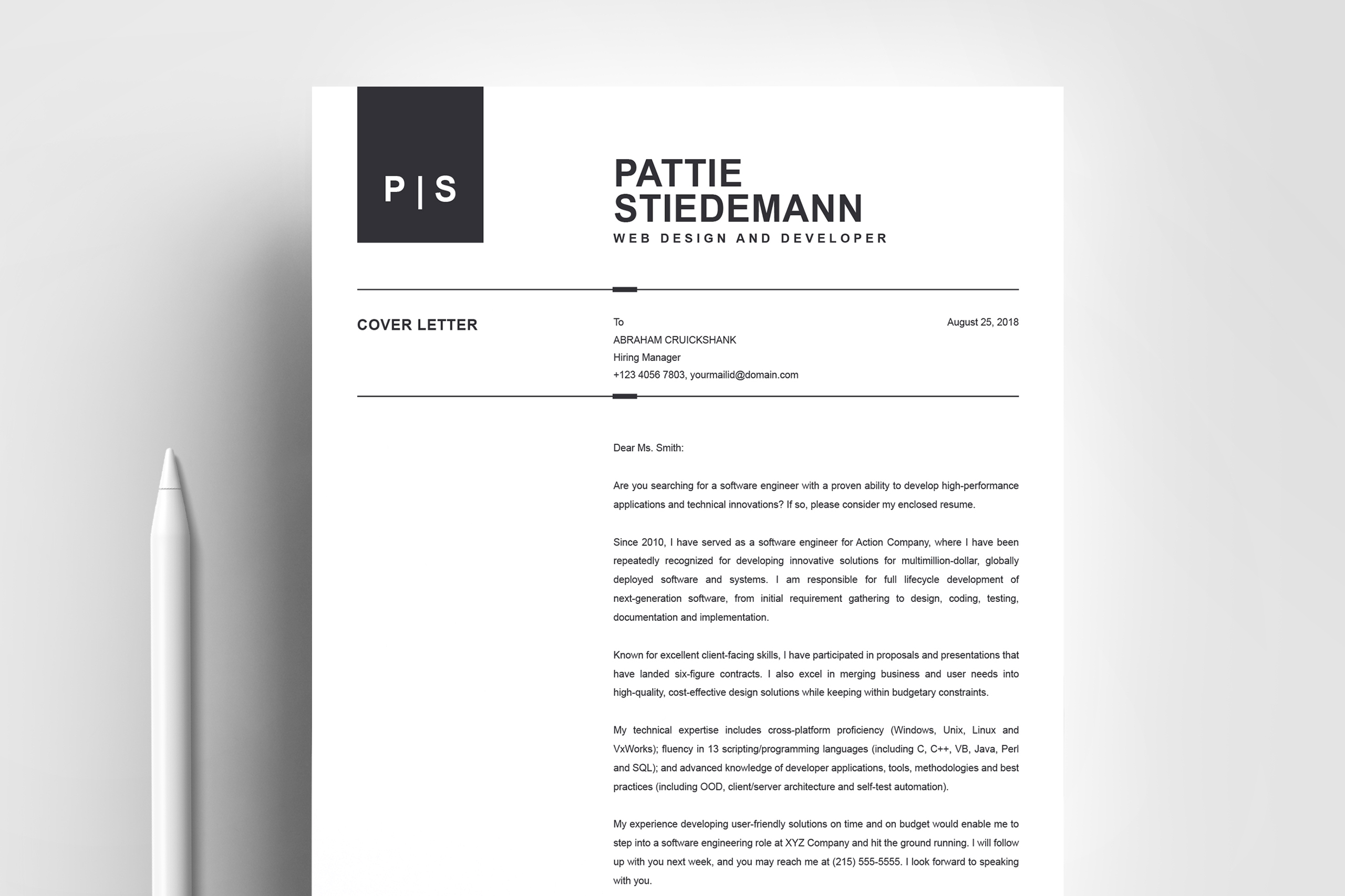 2 Pages Clean Resume Template   Simple & Basic Professional example image 5