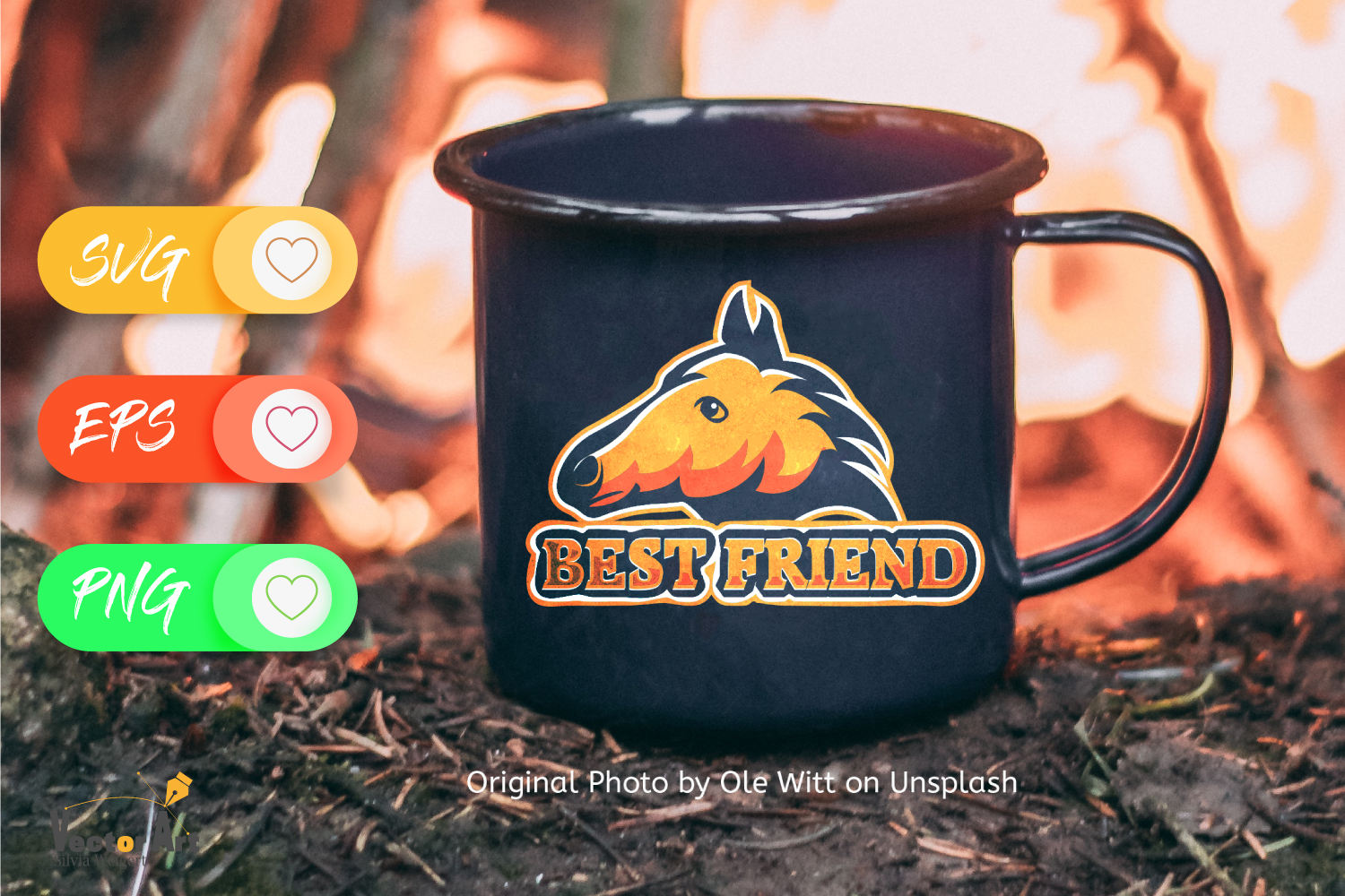 Horse head and saying - Best friend - Cutting or Sublimation example image 4