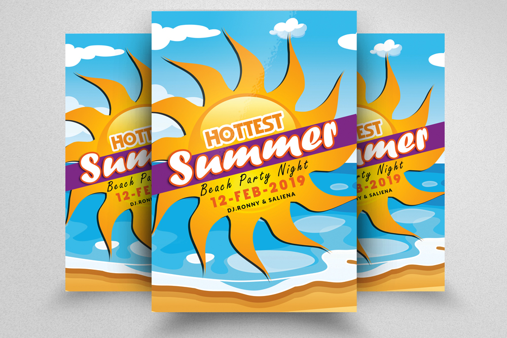 10 Summer Beach Cocktail Party Flyers Bundle example image 2