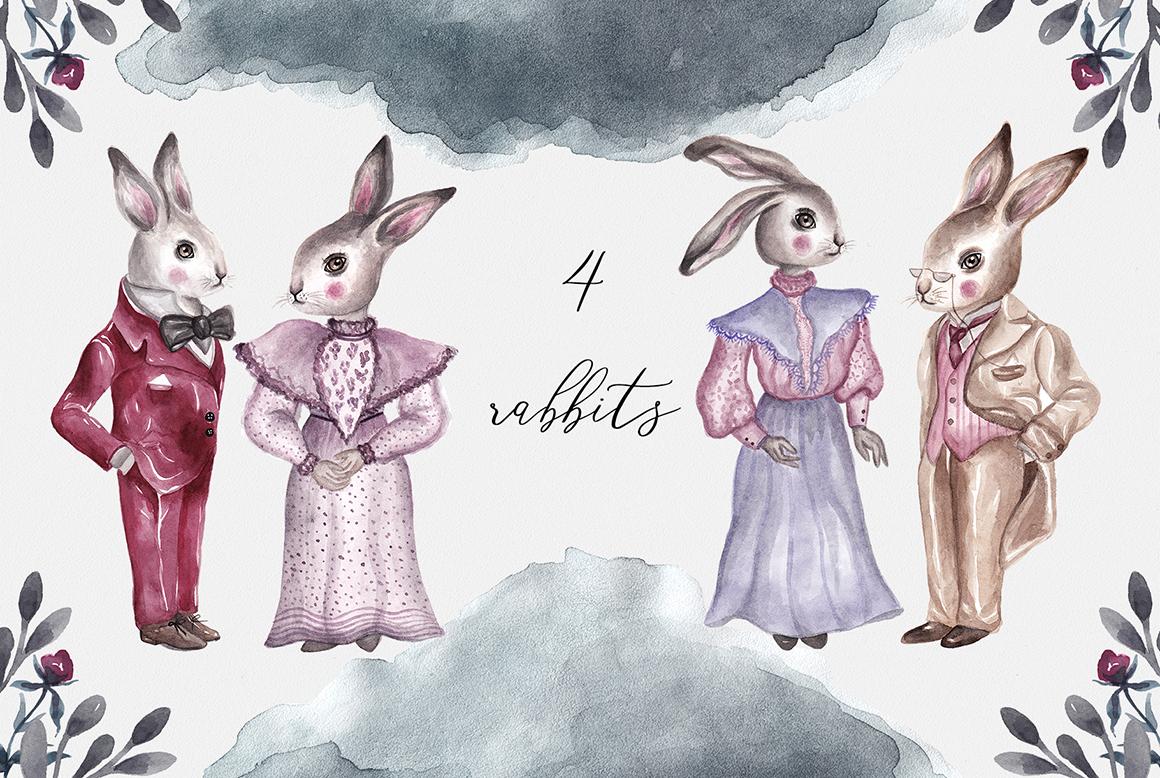 Spring Vintage Wedding Watercolor Rabbits example image 2