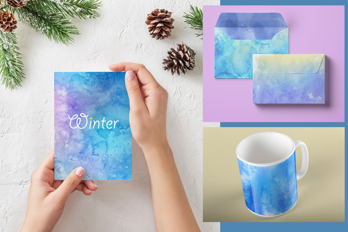 30 Winter Watercolor Backgrounds example image 8