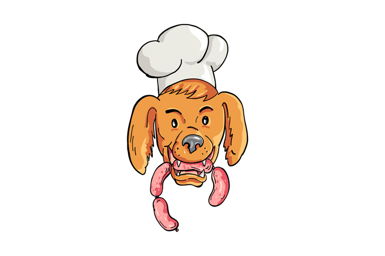Chef Dog Biting Sausage String Cartoon Color example image 1