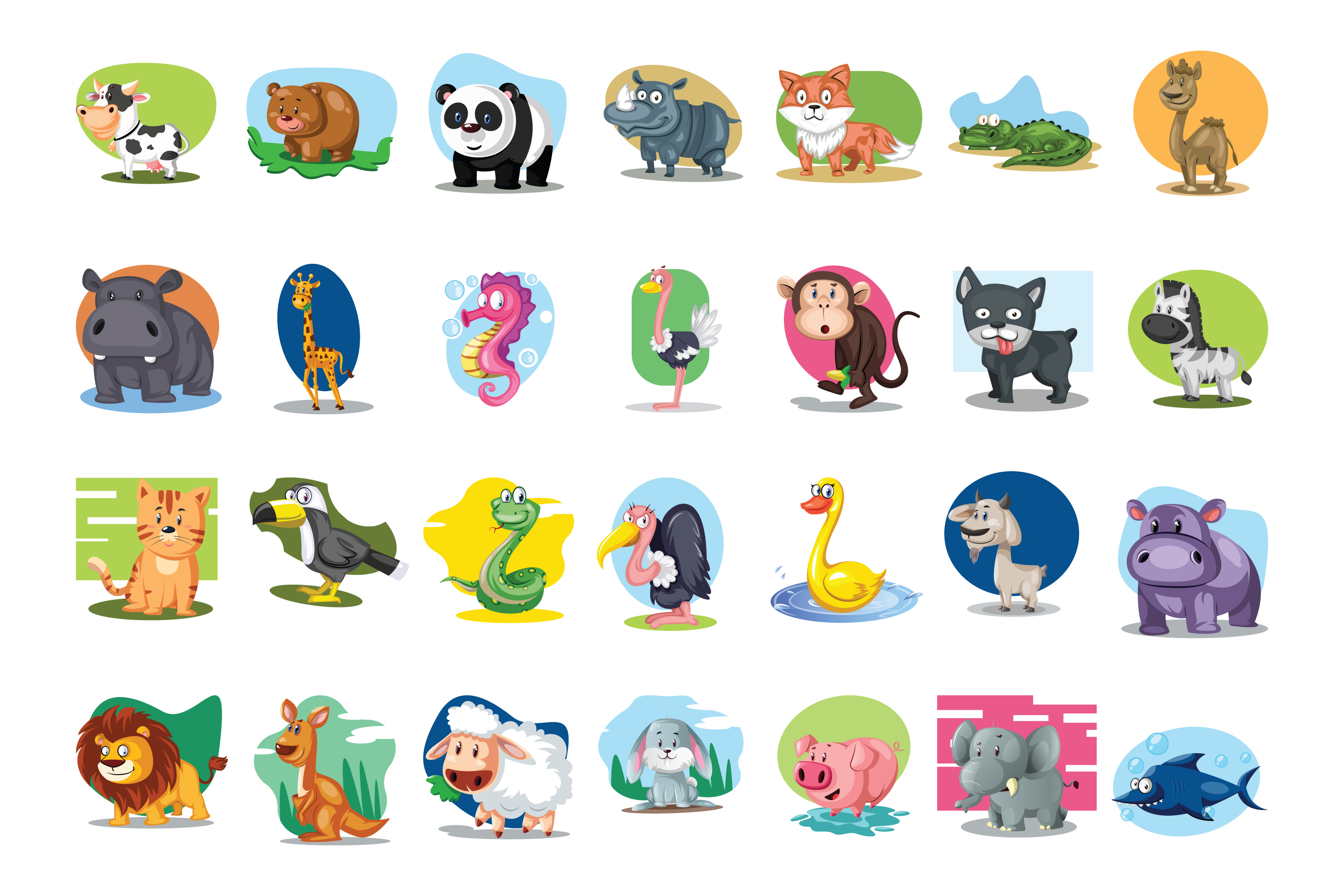 28x Cute Animals vector with background! example image 2