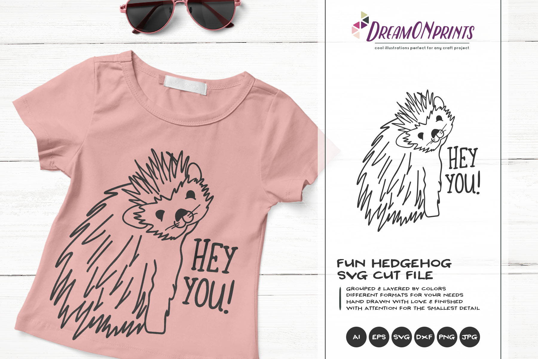 Hey YOU | Fun Hedgehog SVG | Funny Hedgehog Illustration example image 1