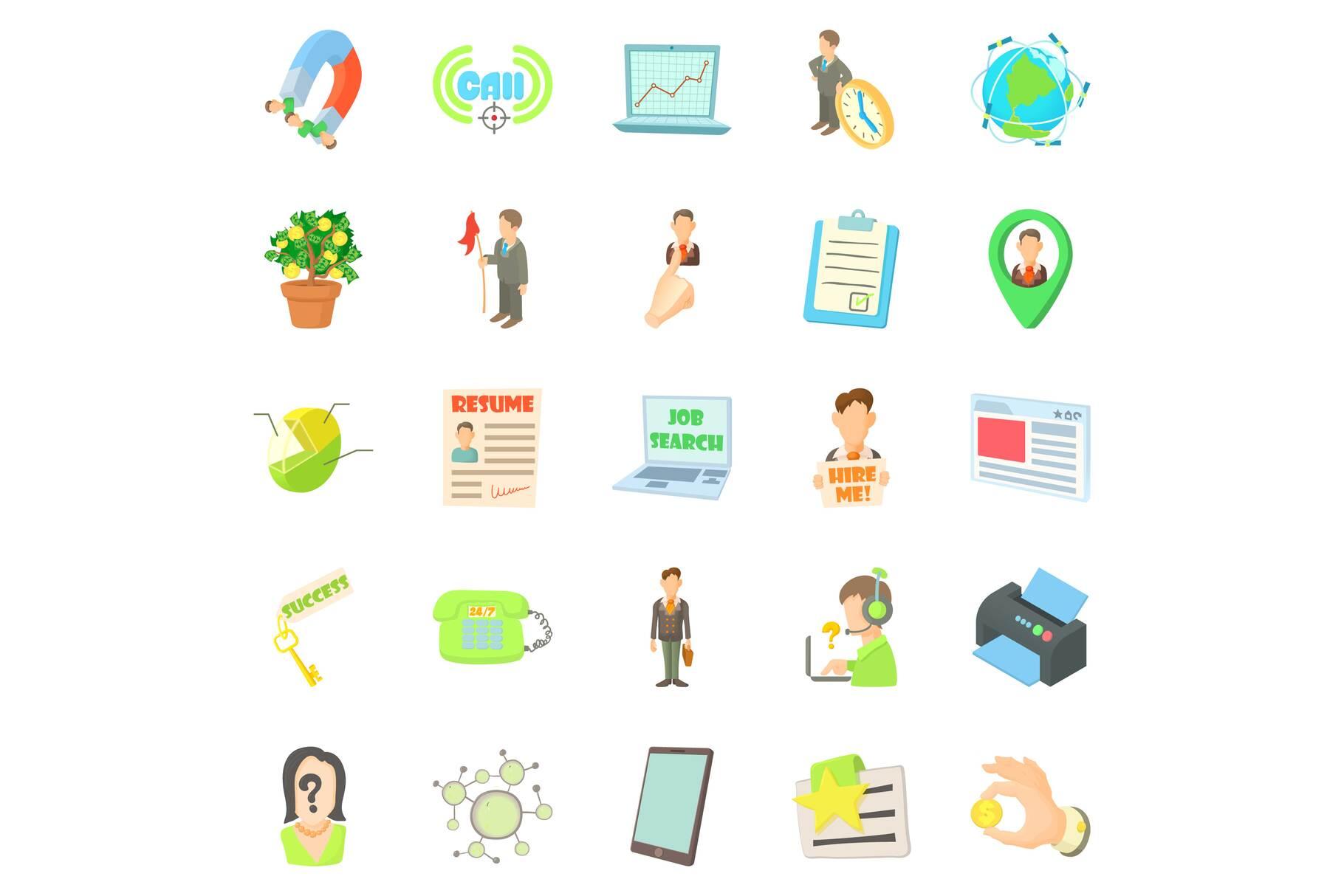 Employee icons set, cartoon style example image 1