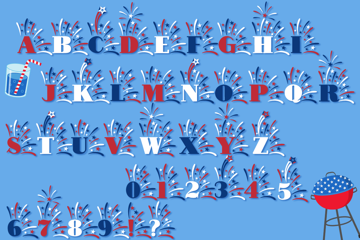 Fireworks 4th of July Font & Bonus Star Studded Font example image 4