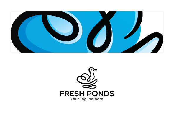 Fresh Ponds - Continuous Line Style Floating Swan Stock Logo example image 3