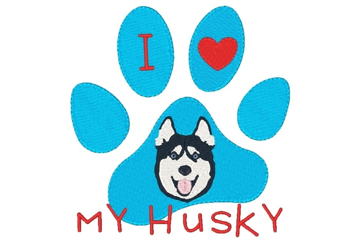 Husky Paw Print Machine Embroidery Design Set of 2 example image 3
