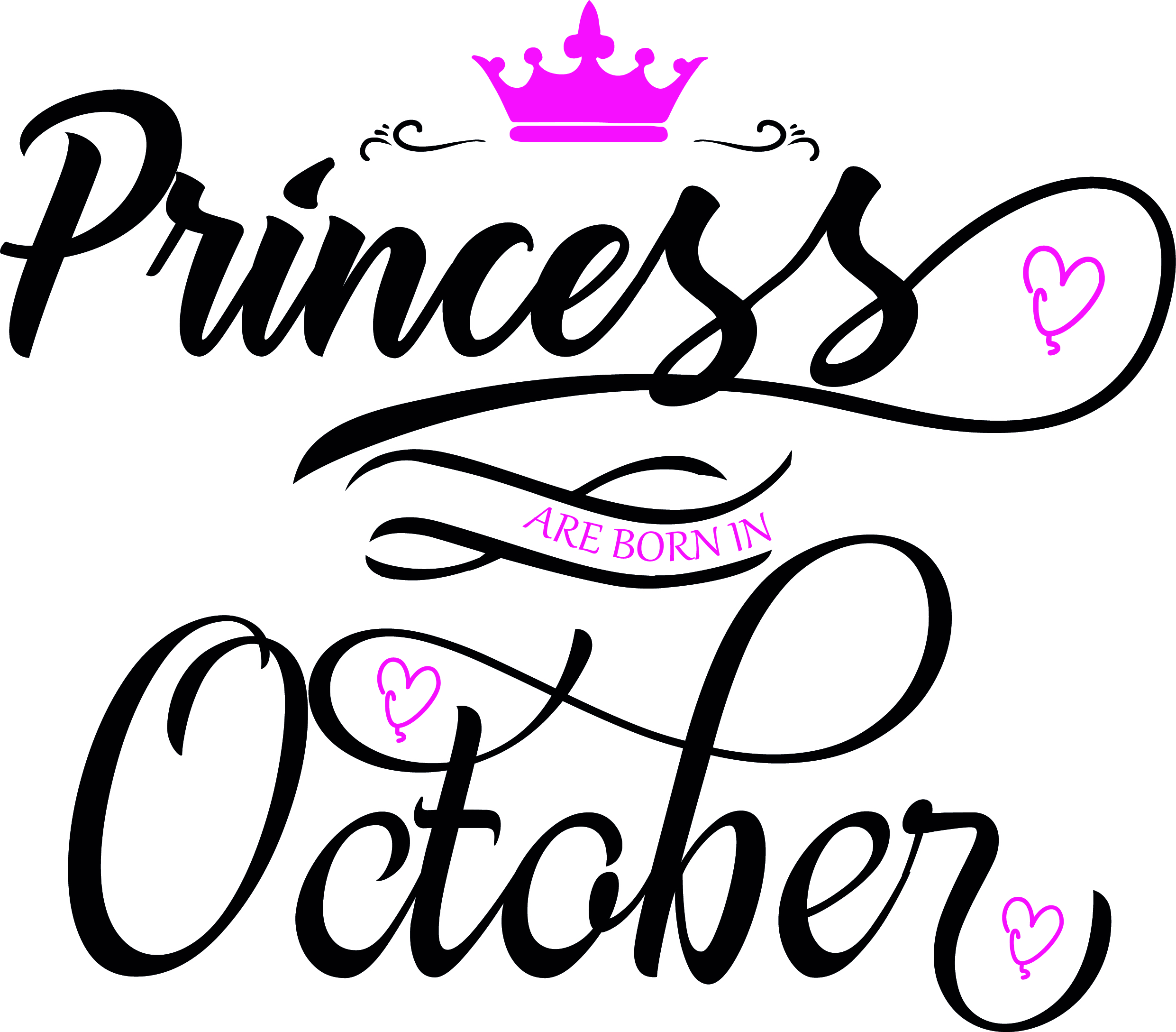 Princess are born in October  Svg,Dxf,Png,Jpg,Eps vector file example image 2