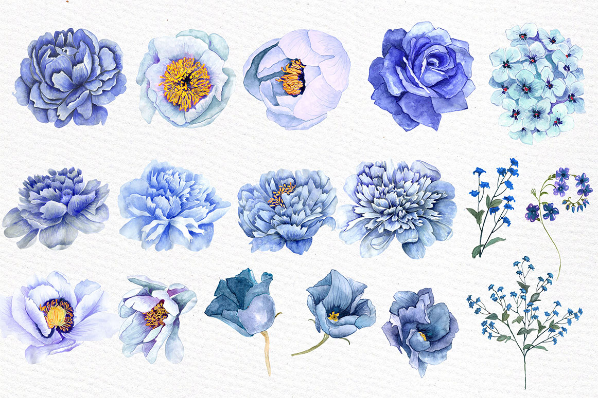 Blue watercolor flowers clipart example image 2