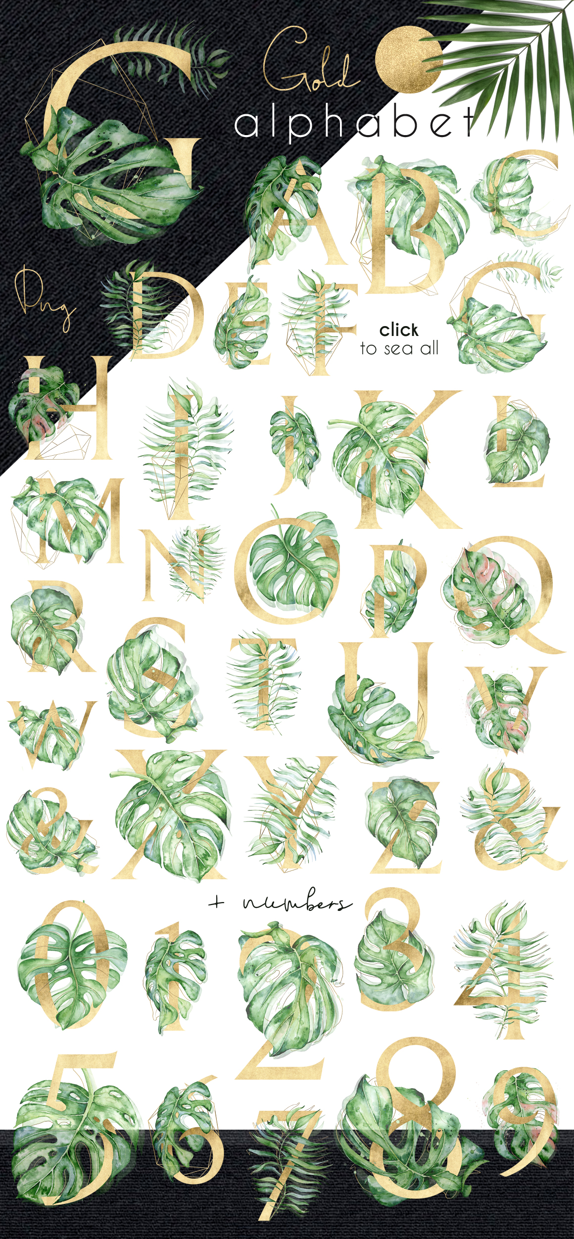 Mistery Monstera - tropical leaves watercolor illustration example image 3