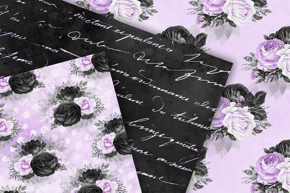 Black Purple and Silver Digital Paper example image 2