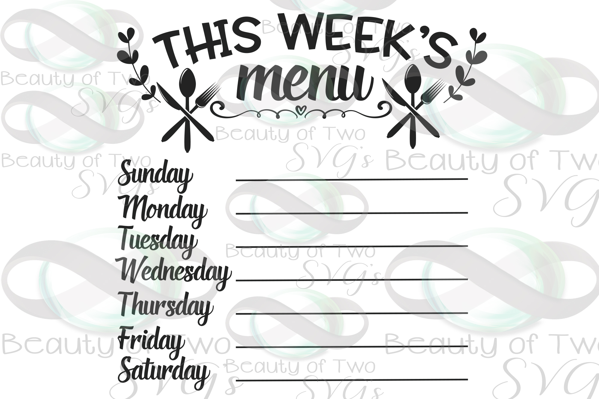 This week's menu svg & png, Chalkboard svg, Kitchen svg