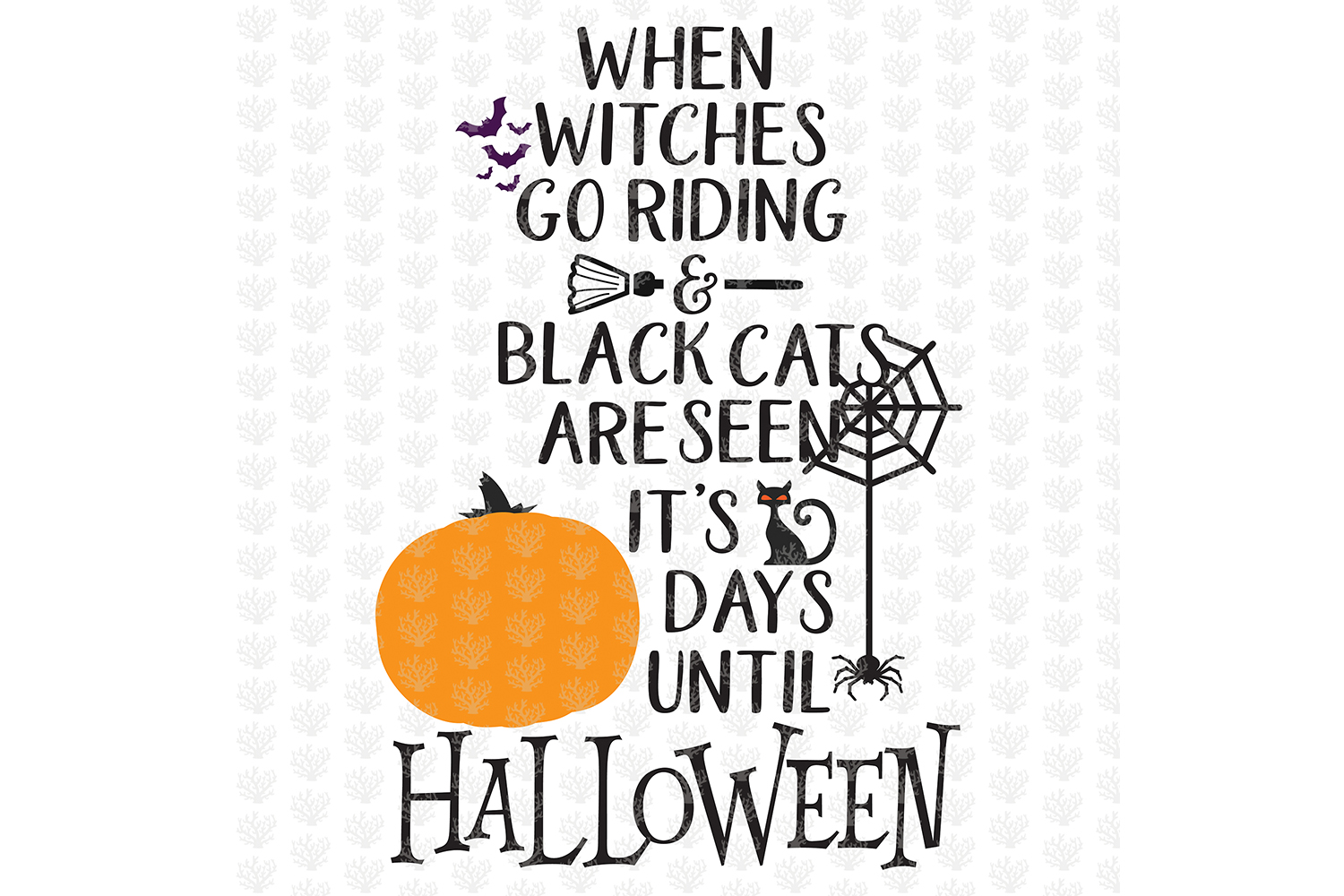 When Witches Go Riding - Halloween SVG EPS DXF PNG Cut Files example image 1
