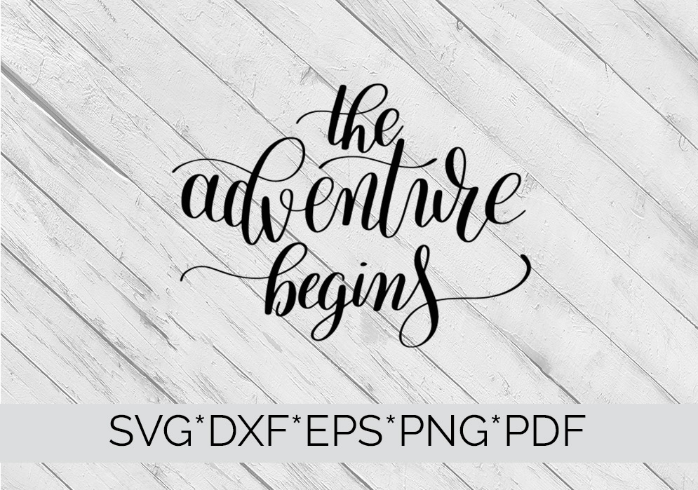 Family Quote The Adventure Begins SVG Cutting File  example image 4