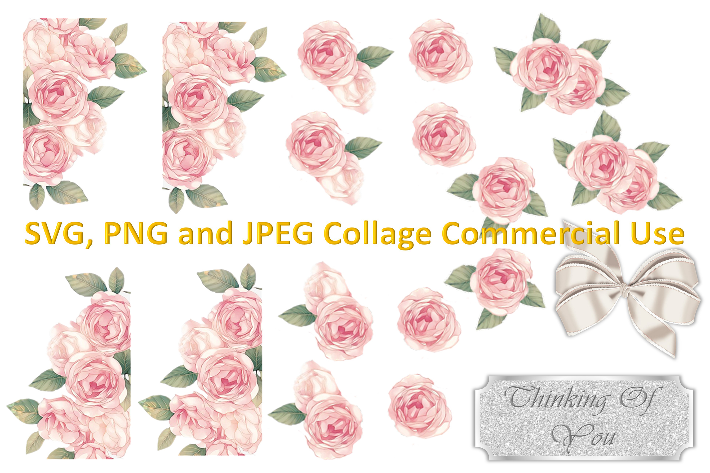 SVG, PNG and JPEG Roses Collage Commercial Use example image 1