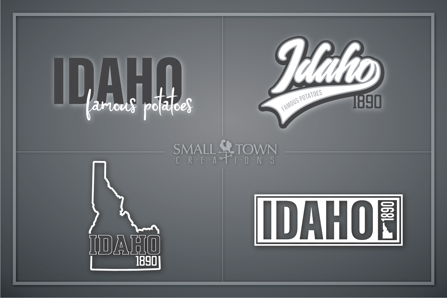 Idaho, Famous Potatoes- slogan, Logo, PRINT, CUT & DESIGN example image 1