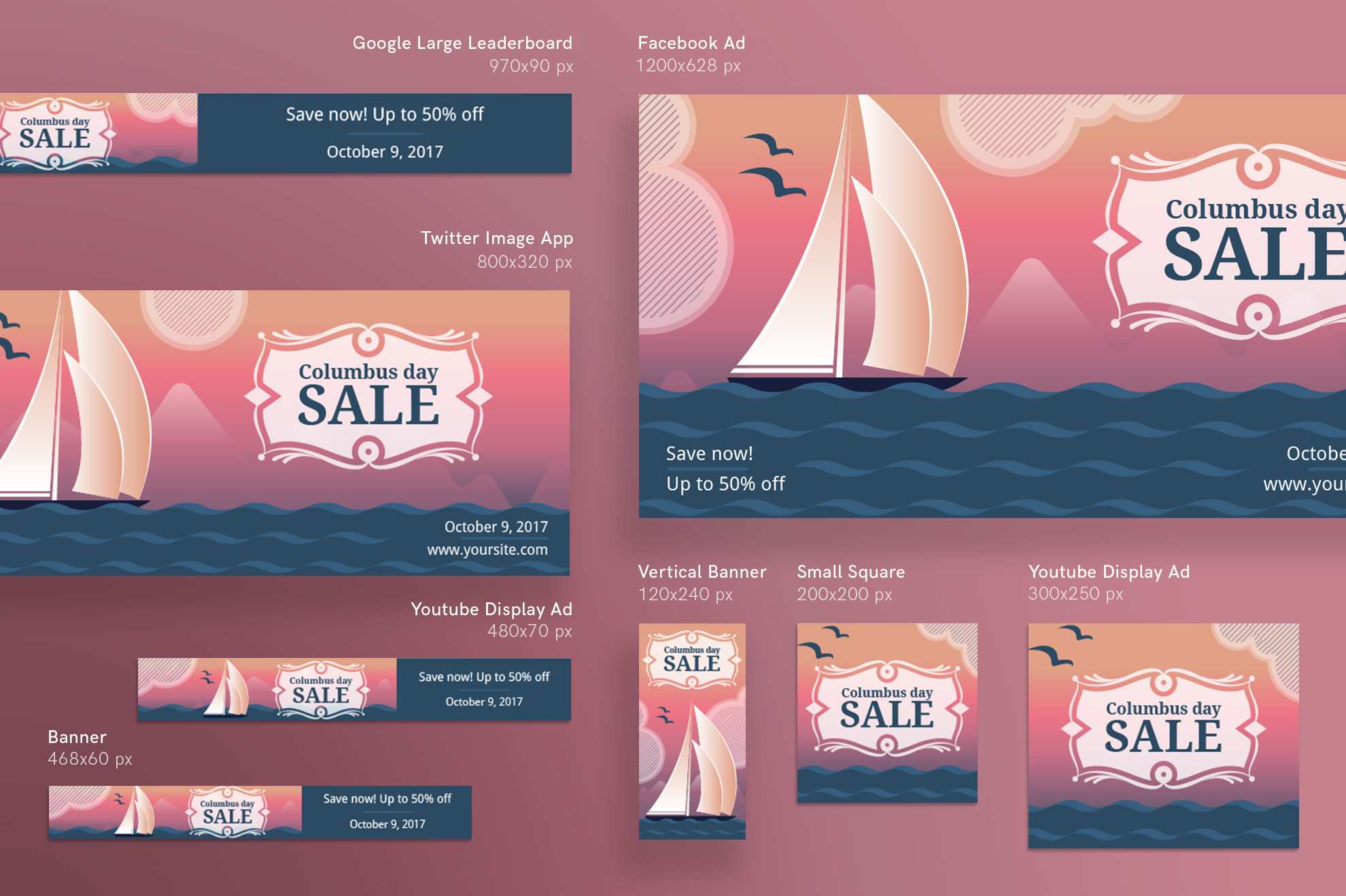 Columbus Day Sale Design Templates Bundle example image 6