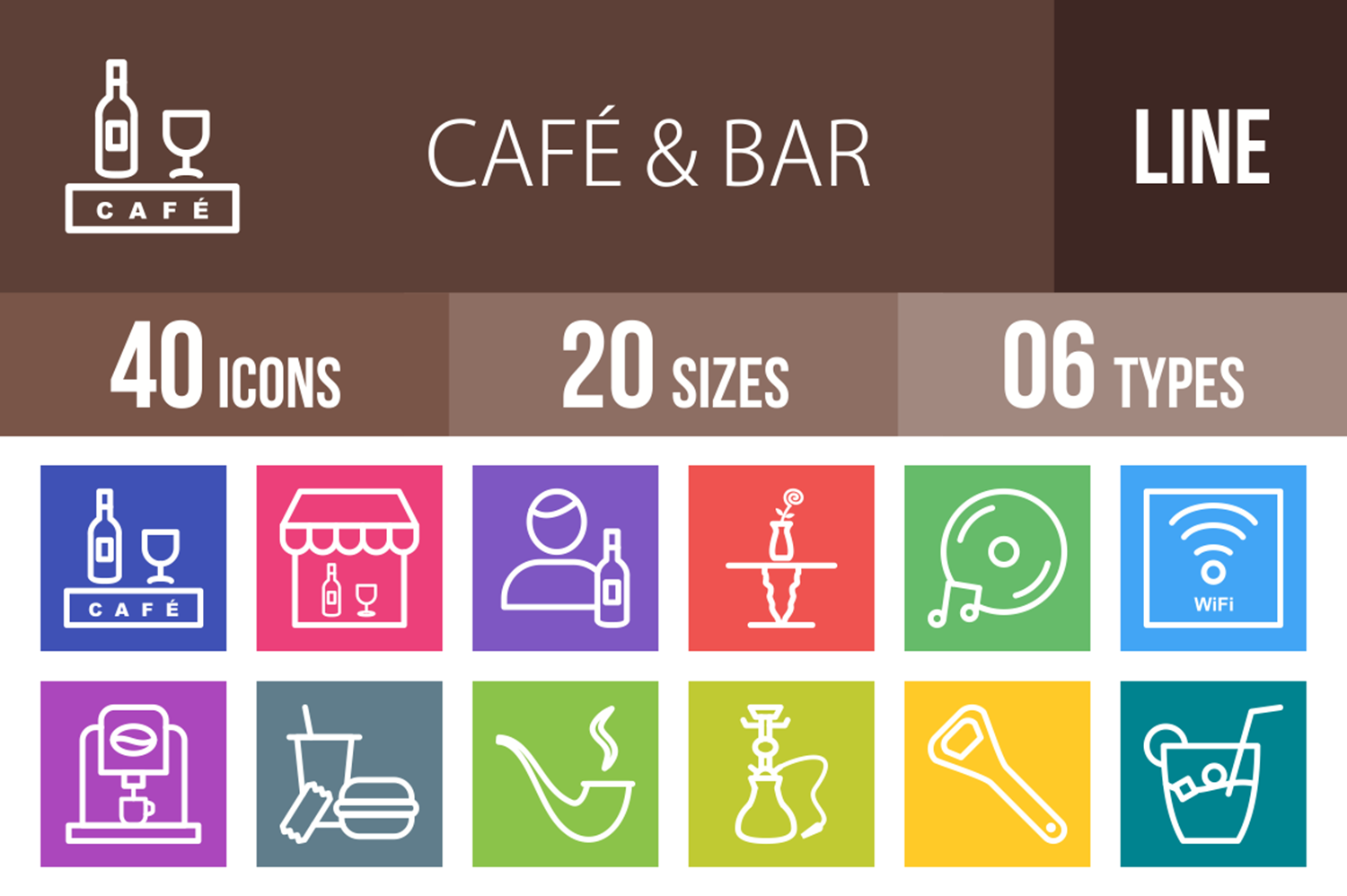 40 Cafe & Bar Line Multicolor B/G Icons example image 1
