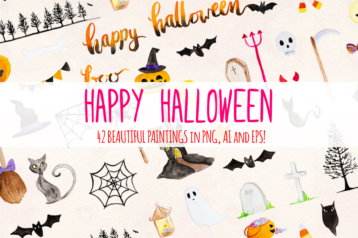 Happy Halloween 42 Cute Spooky Watercolor Elements example image 2