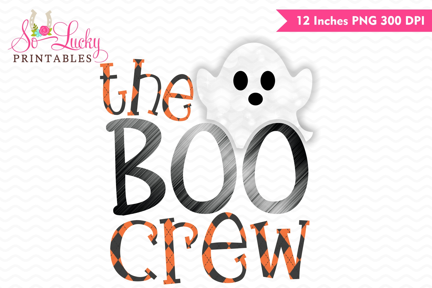 The boo crew watercolor printable sublimation design example image 1