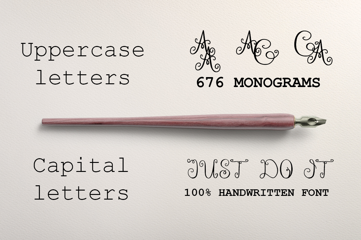 Monogram ELEGANTO Duo Font example image 2