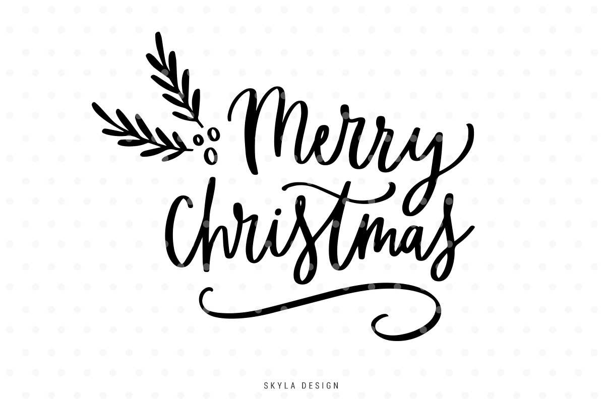 merry christmas svg hand lettered quote example image 1 - Merry Christmas Logos