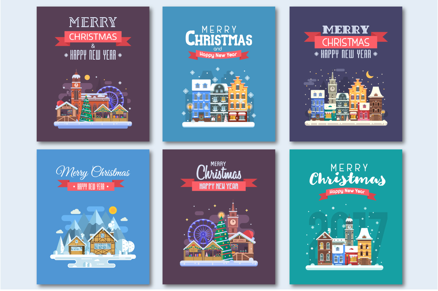 New Year and Christmas Cards with Europe Cities example image 2