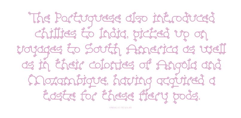 Vindaloo typeface layout 1