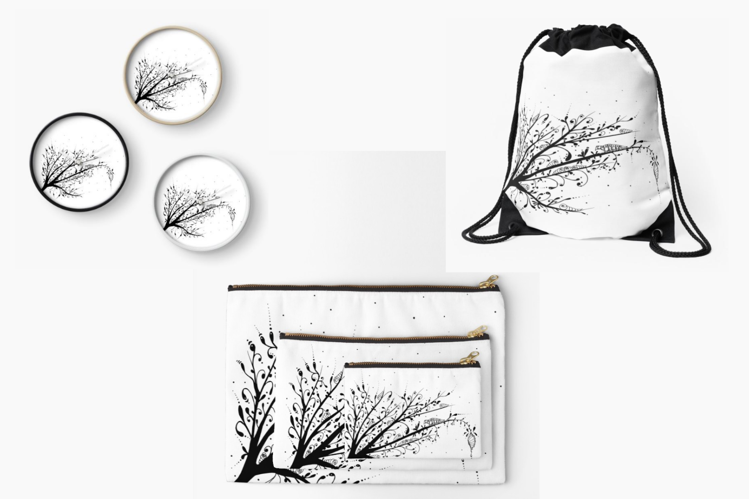 Larva Tree Ink Art, A1, SVG example image 8