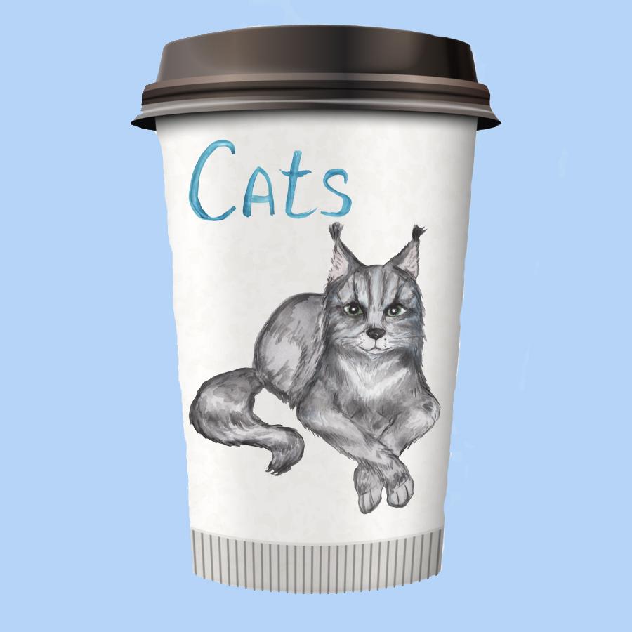 Grumpy cat clipart, savannah cat, lynx clipart, Maine coon example image 6