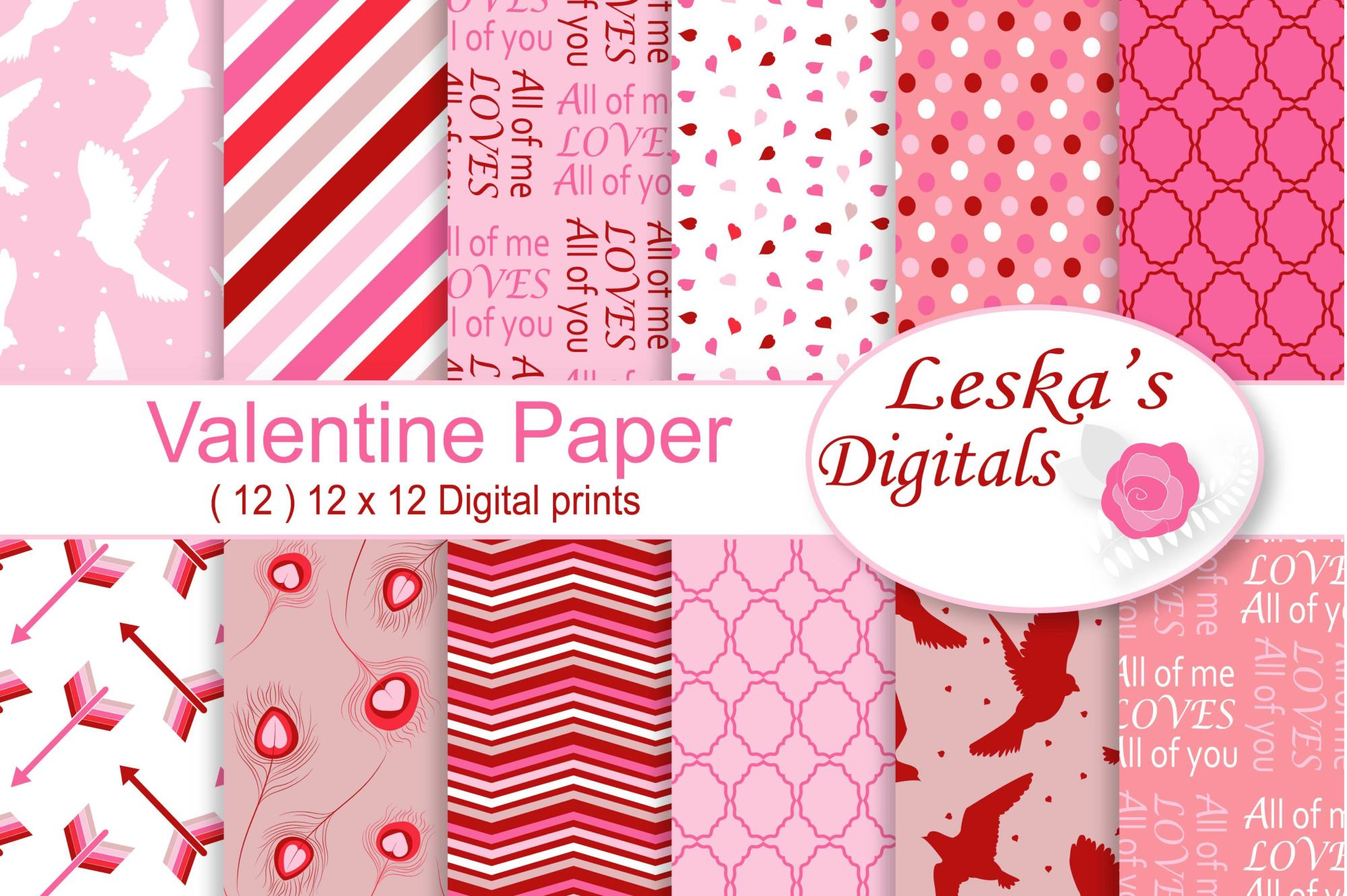 Valentine Digital Prints - Pink and Red Pattern Designs example image 1
