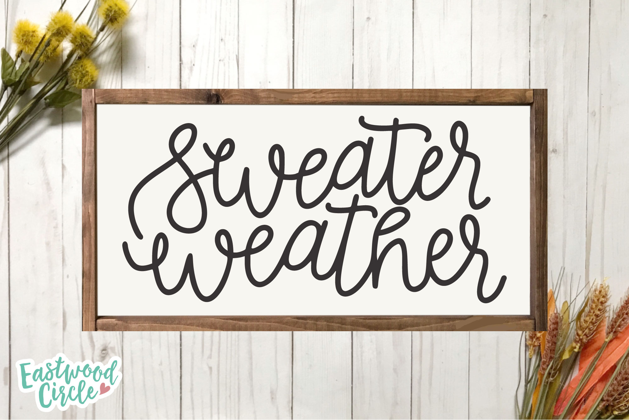 Sweater Weather - Hand Lettered Fall SVG for Crafters example image 2