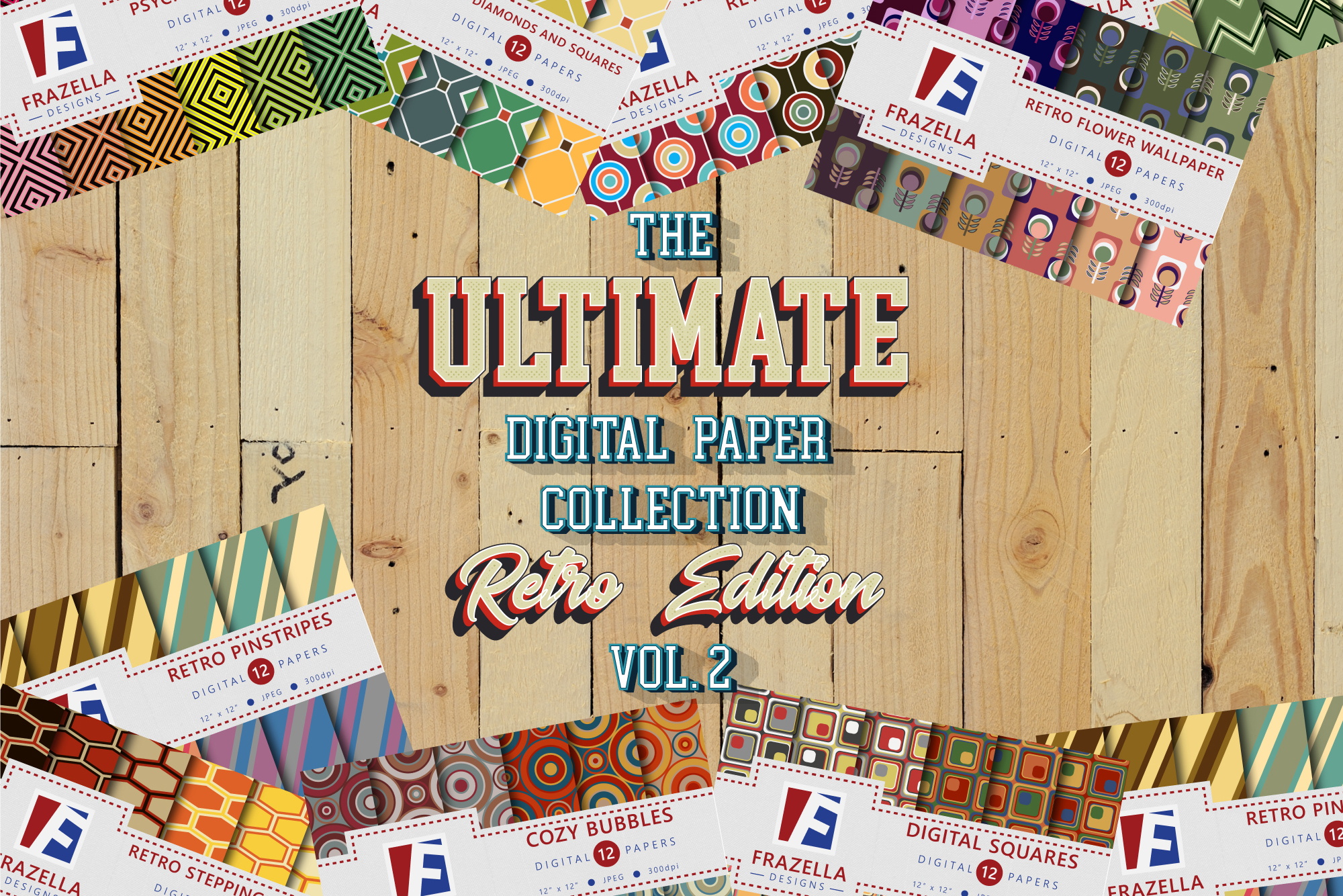 The ULTIMATE Digital Paper Collection Retro Edition Vol. 2. example image 1