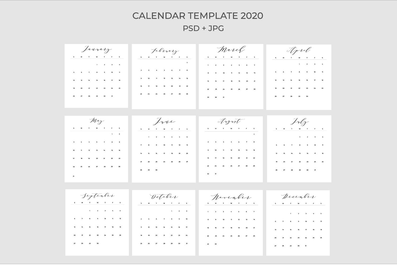 2020 Calendar Template PSD-JPG-PDF | Easy to edit example image 5