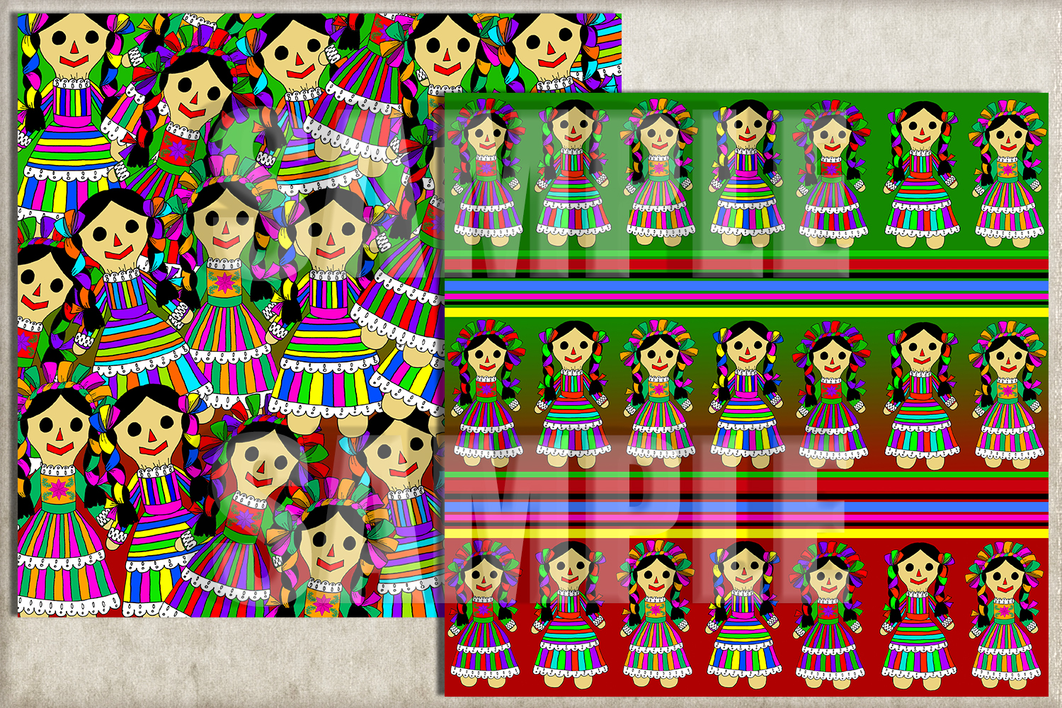 Mexican Rag Doll Digital Paper, Digital Background example image 2