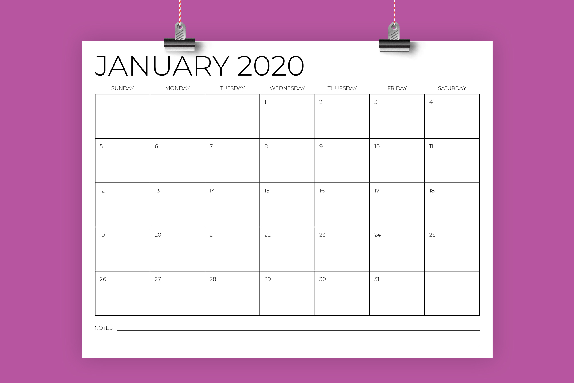 8.5 x 11 Inch Minimal 2020 Calendar example image 1