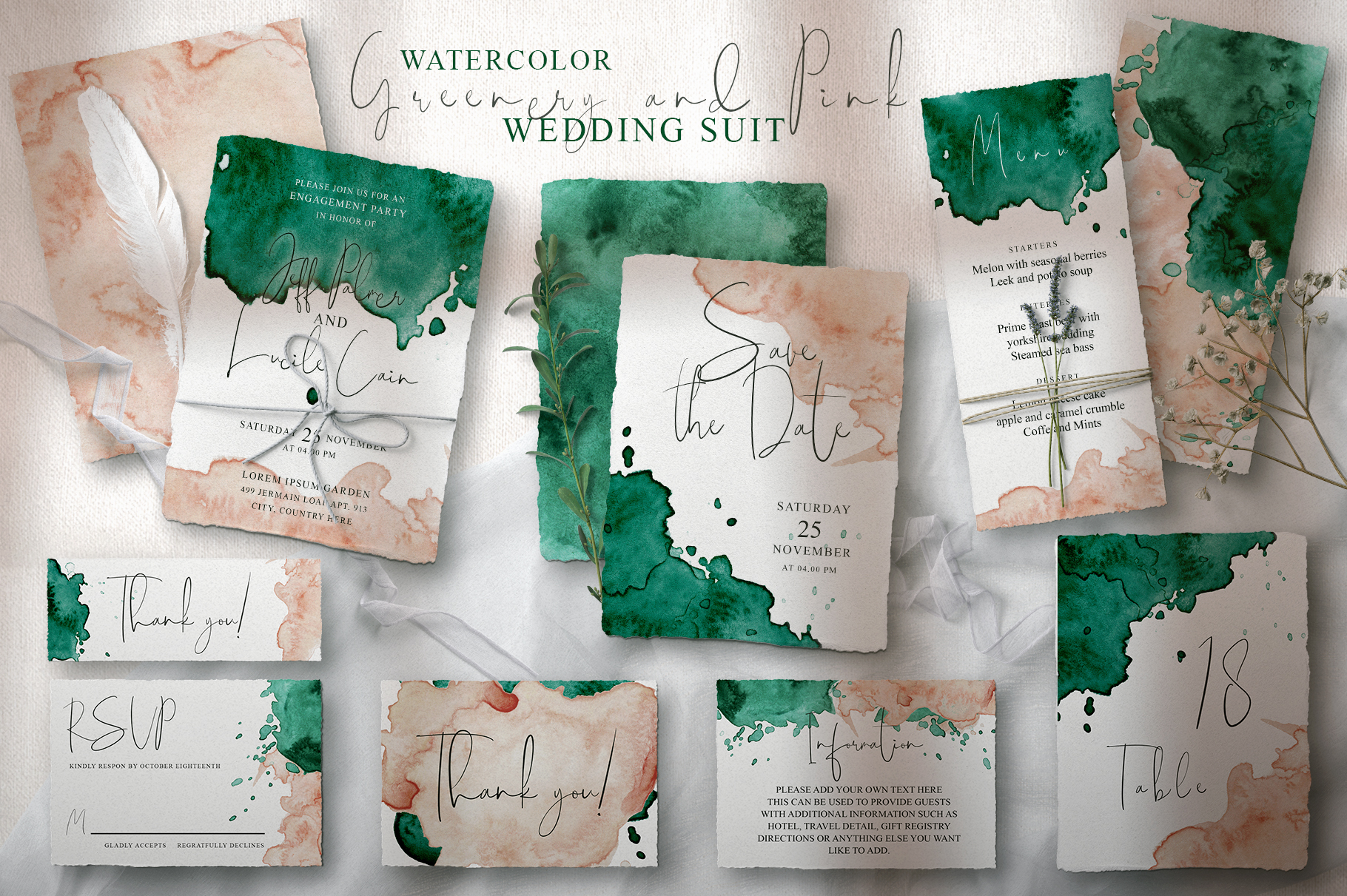Green and Pink Wedding Invitation Suit example image 1