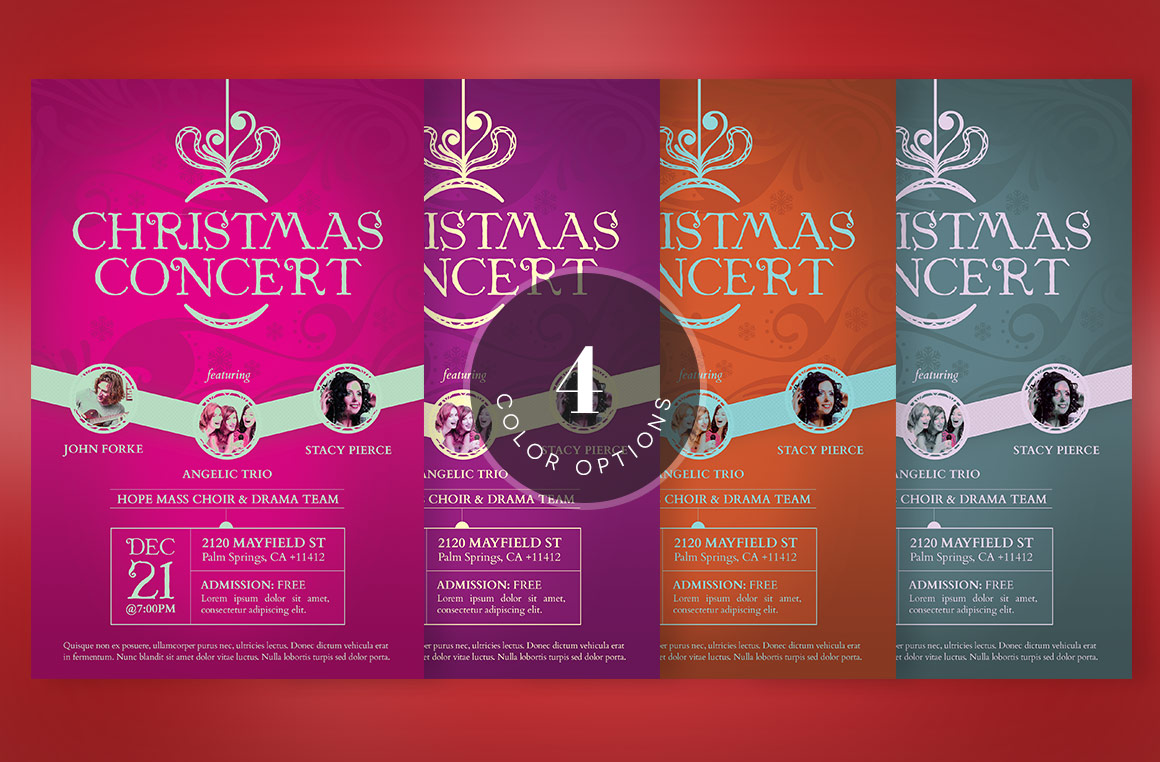 Red Christmas Concert Flyer Template example image 5