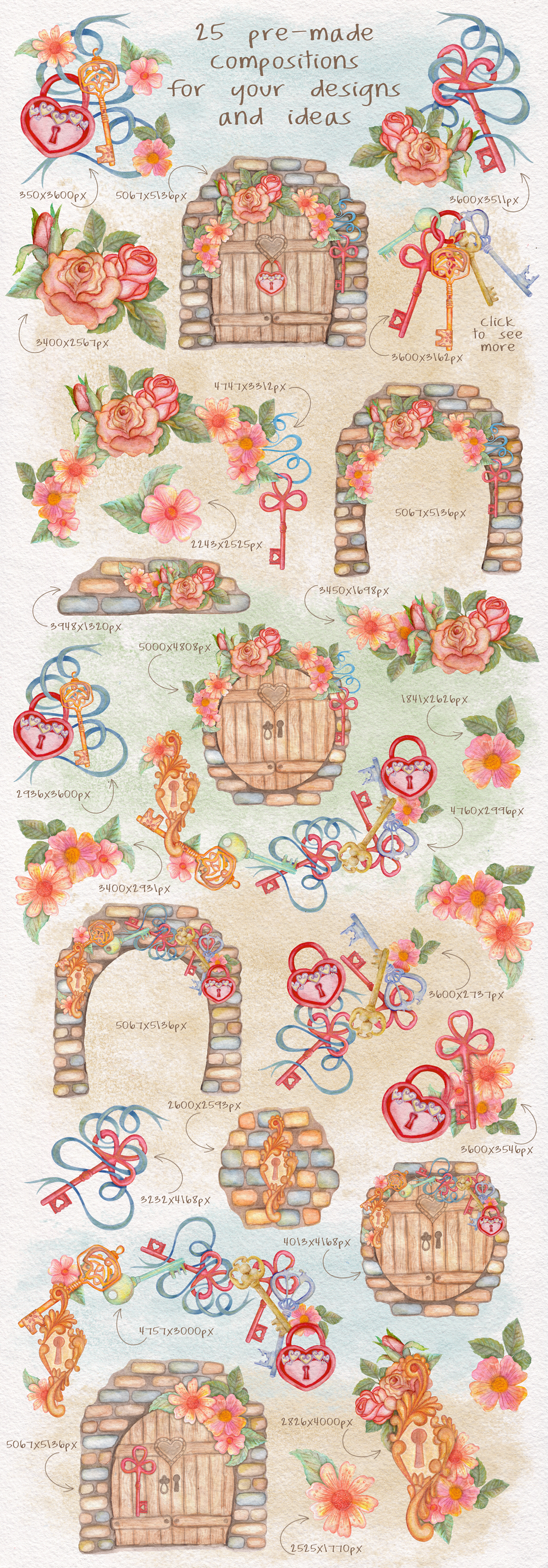 Home Sweet Home. Keys, floral watercolor wonderland collection example image 2
