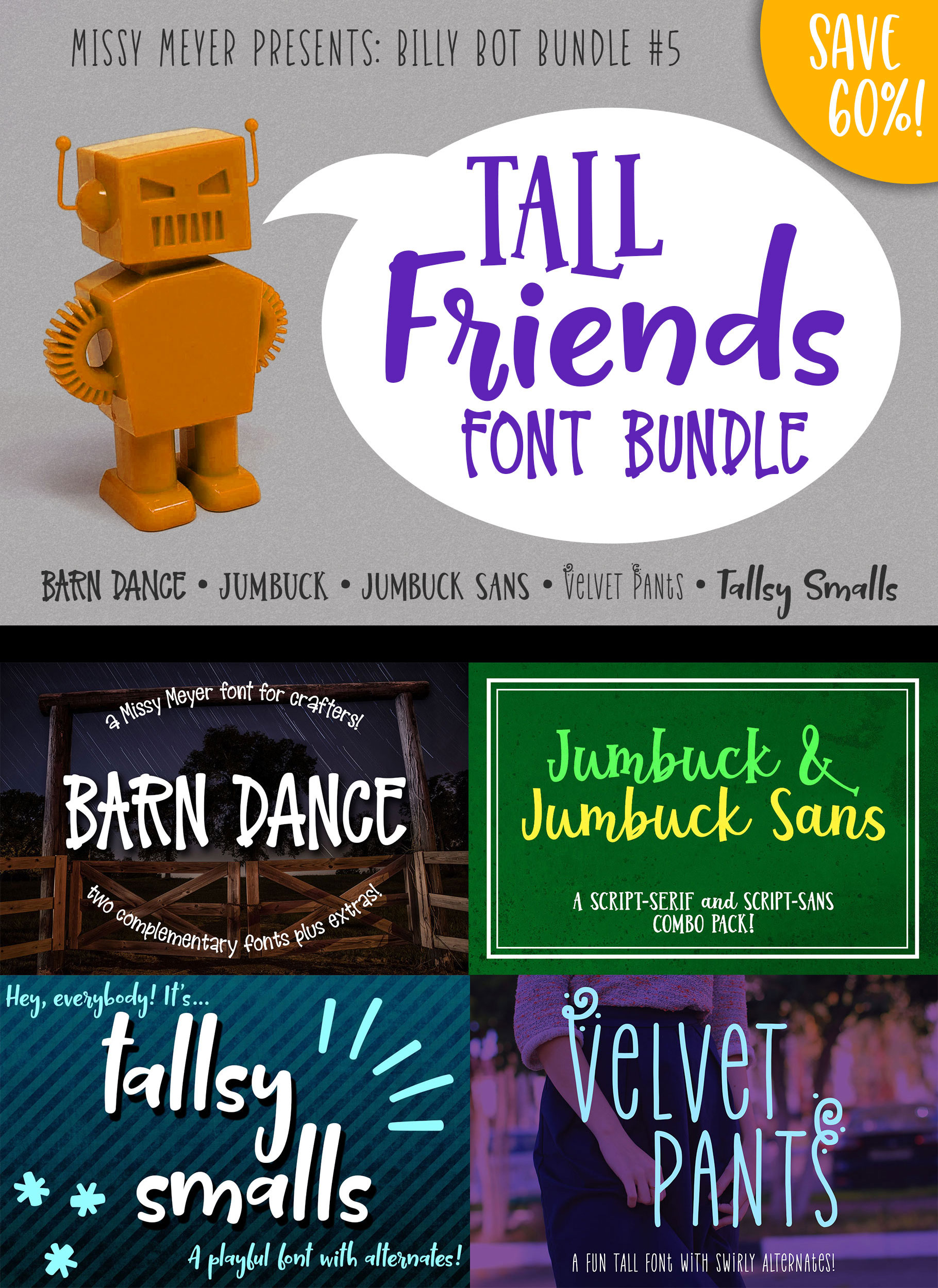 Billy Bot Bundle 5 - Tall Friends Font Bundle! example image 7