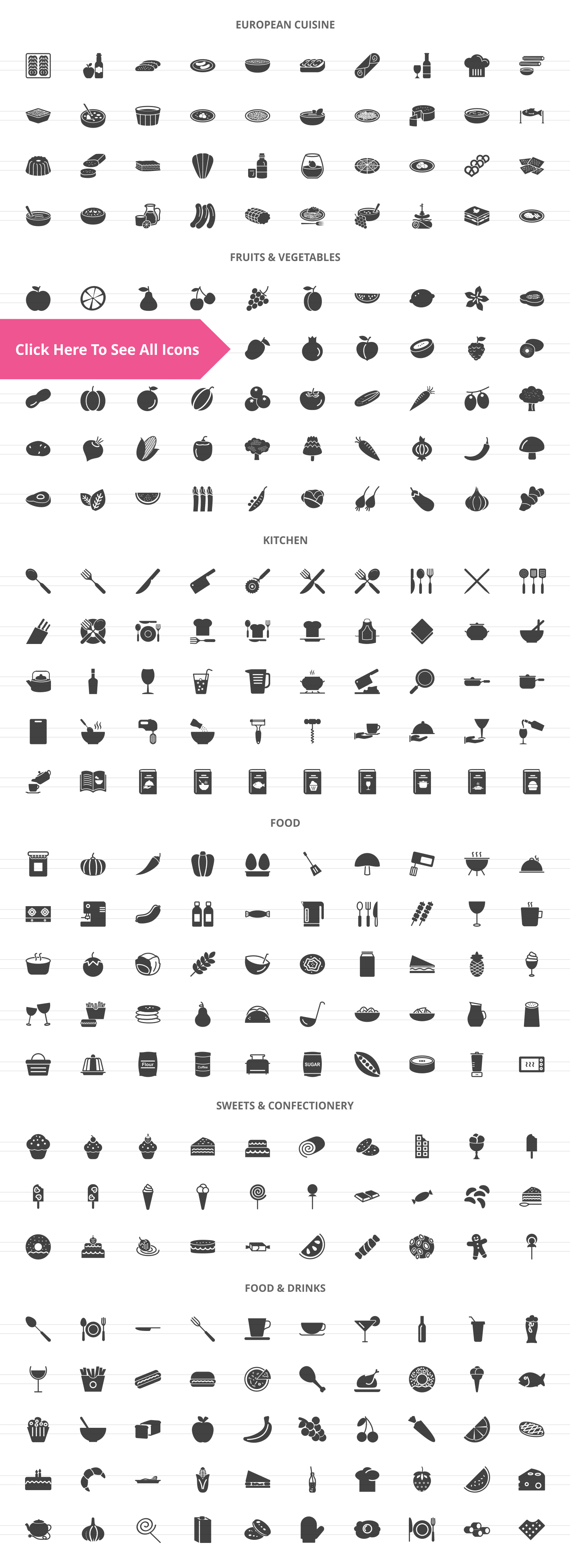 270 Food & Drinks General Glyph Icons example image 2