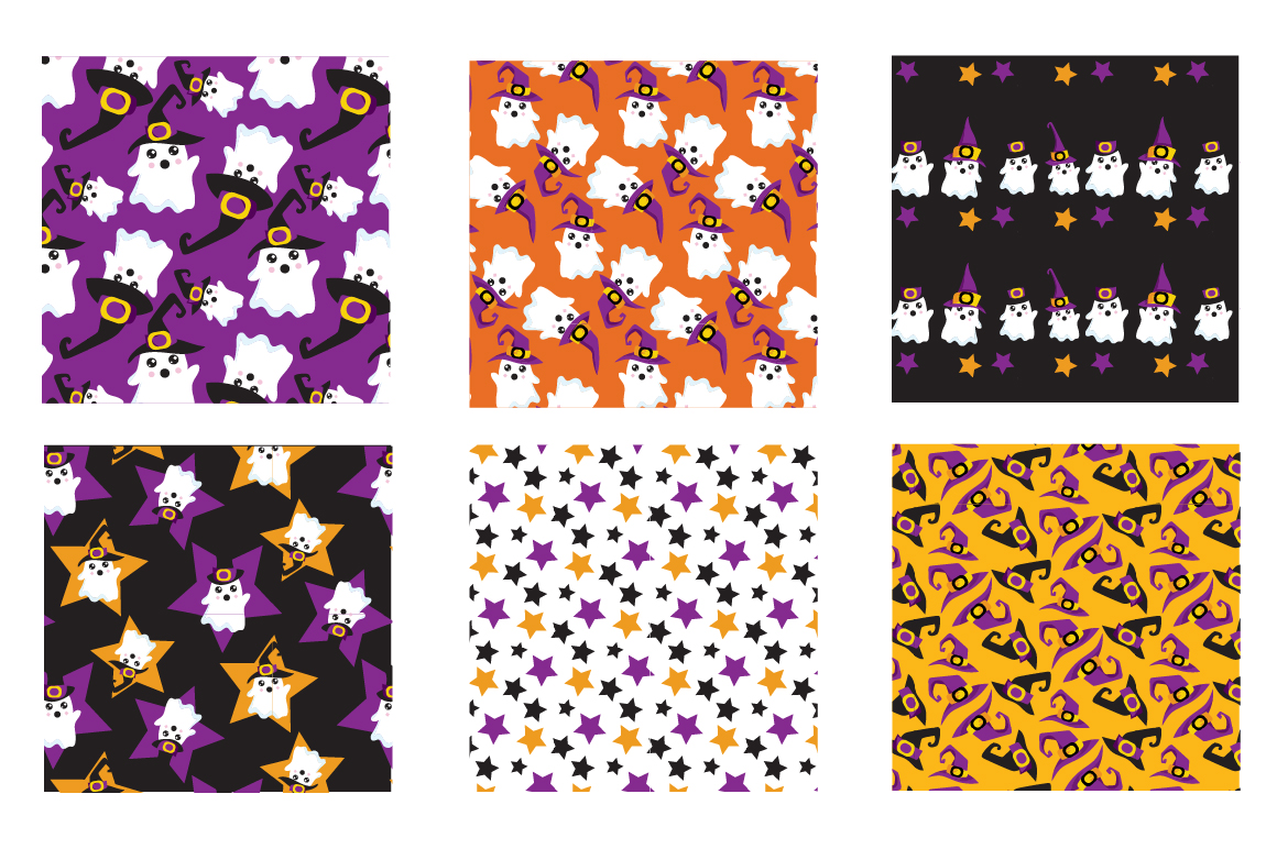 Halloween Ghosts Pattern collection, vector ai, eps example image 3