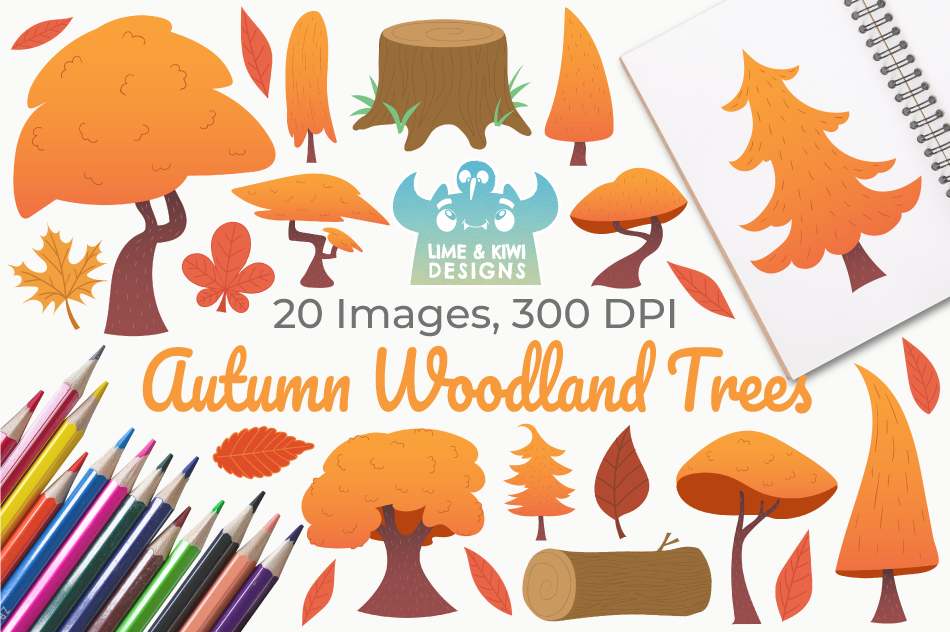 Autumn Woodland Trees Clipart, Instant Download Vector Art example image 1