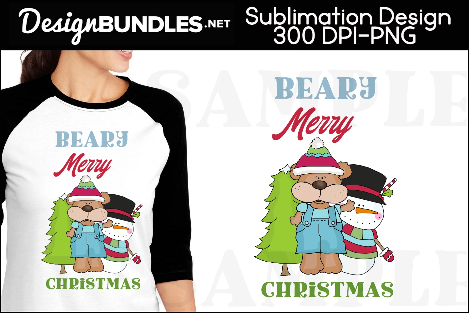 Beary Merry Christmas Sublimation Design example image 1