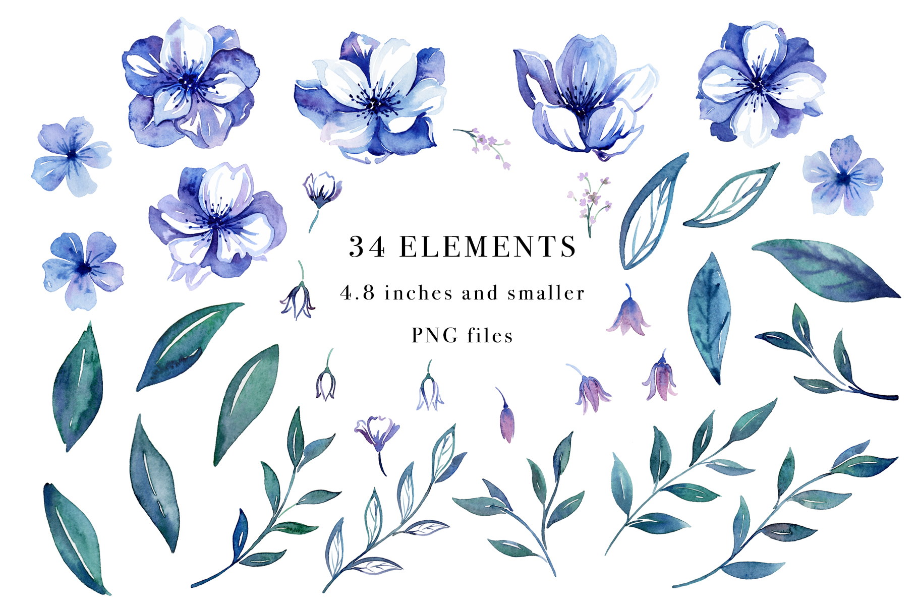 Floral Blues Watercolor Set example image 2