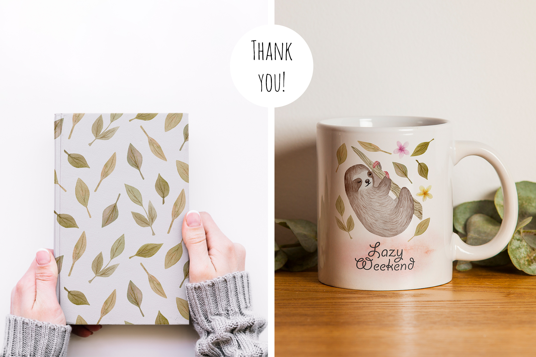 Cute Sloth. Watercolor Patterns example image 5