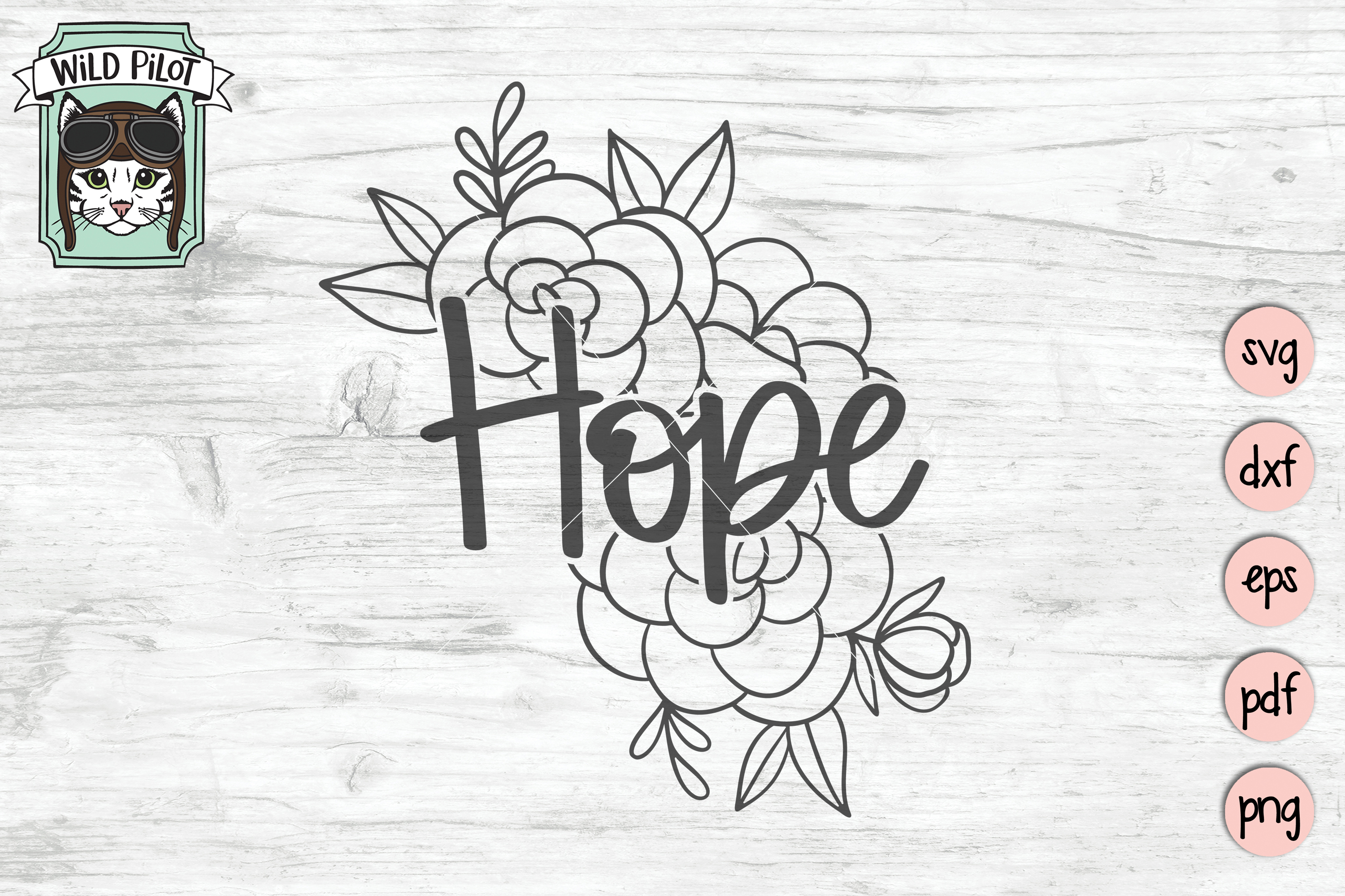 Hope SVG file, Hope cut file, Flowers, Floral, Religious example image 1