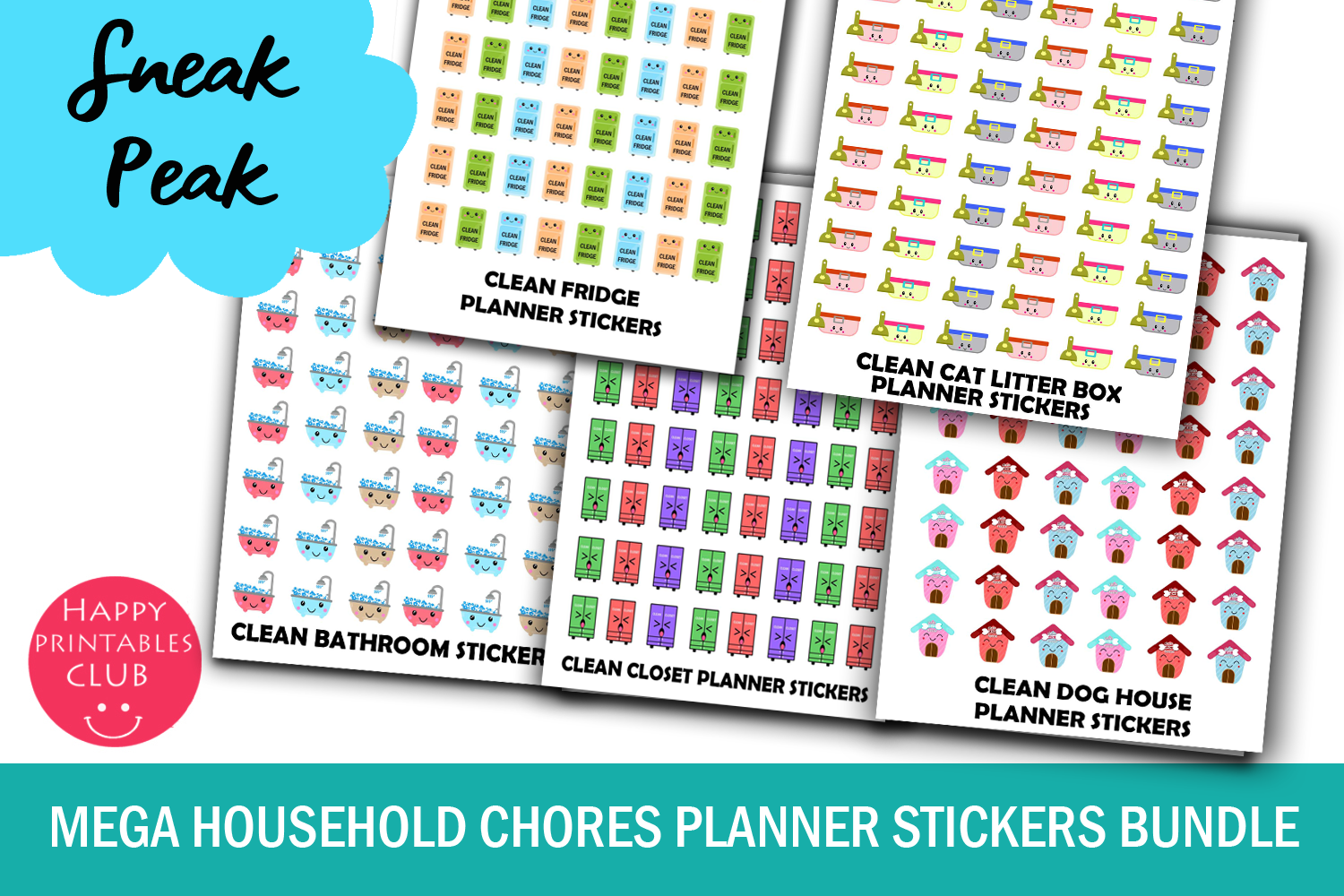 Mega Household Chores Planner Stickers Bundle Pack example image 3