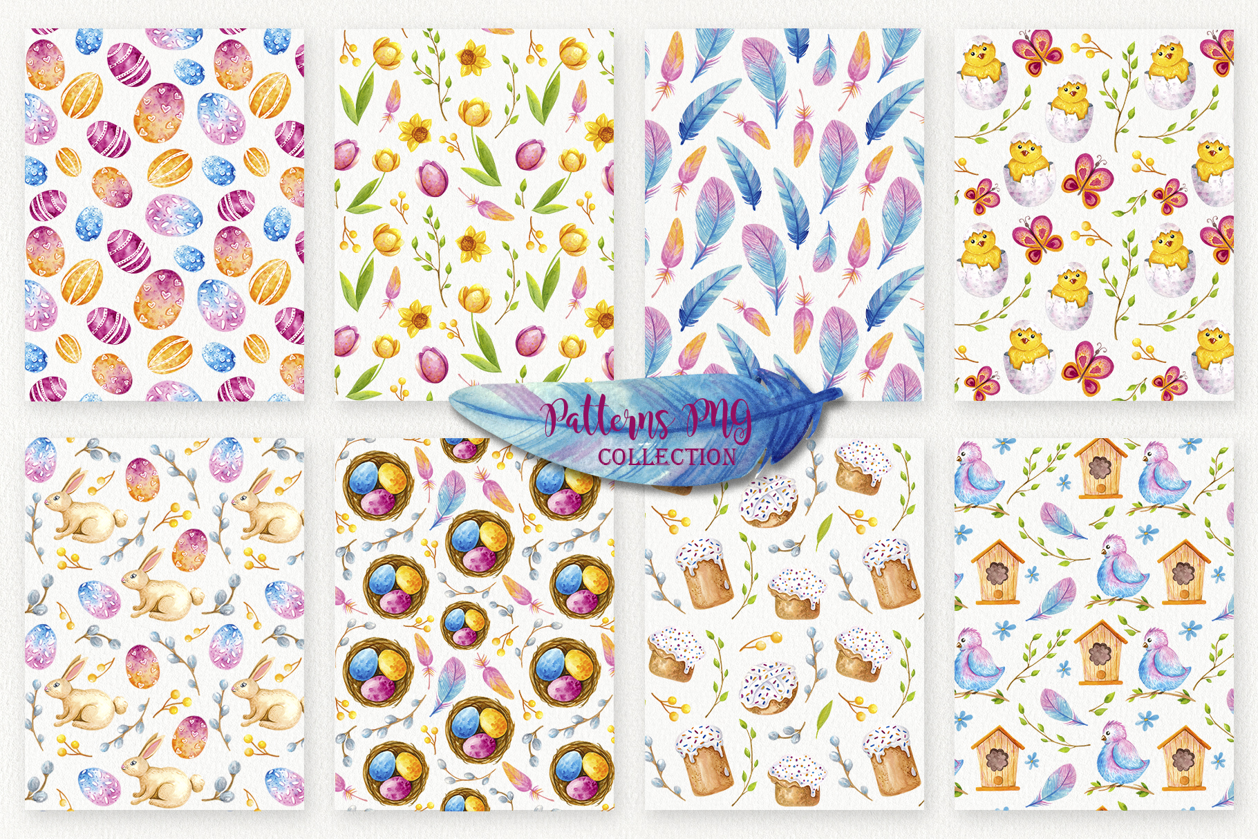 Easter Sealess Patterns - Watercolor Set example image 3